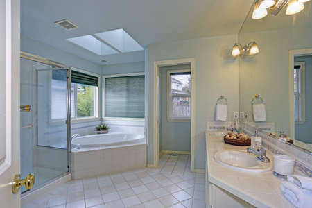 Elegant master bathroom features soft blue walls paint color, twin skylights over a white tiled tub and walk-in shower.   Stock fotó