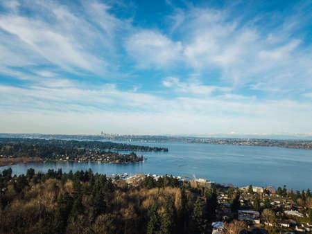 Aerial landscape view of Lake Washington, downtown Seattle, Kirkland.