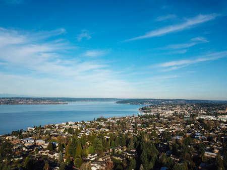 Aerial landscape view of Lake Washington, downtown Seattle, Kirkland Stock Photo