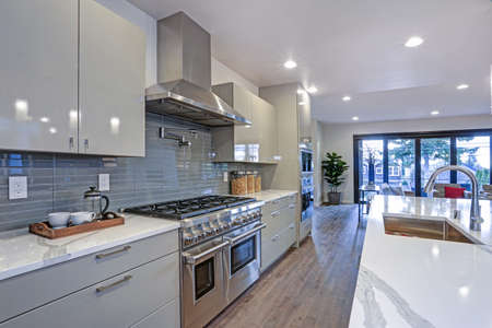 Sleek modern kitchen design with a kitchen peninsula, glossy gray backsplash, Wolf 8 burner range top and stainless steel hood. Standard-Bild