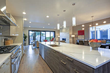 Sleek modern kitchen design with a kitchen peninsula fitted with a gray and white quartz countertop. Stockfoto