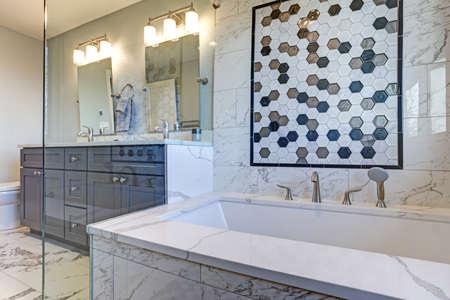 Salle de bain de luxe avec contour de carreaux de marbre et mur d'accent en mosaïque. Banque d'images - 100259887