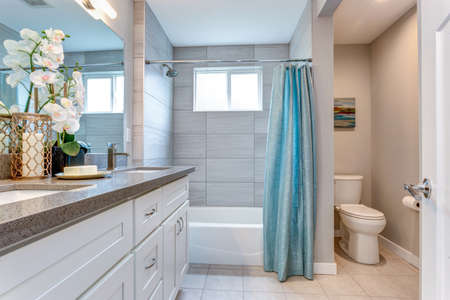 Elegant warm color bathroom design in a freshly remodeled house.