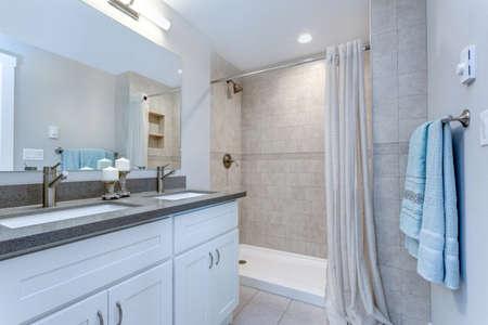 Elegant bathroom design in a freshly remodeled house.