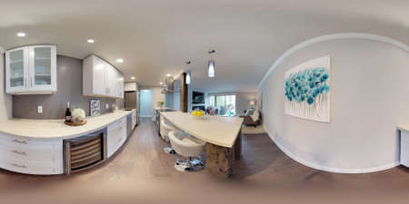 3d illustration spherical 360 degrees, a seamless panorama of white compact kitchen in modern studio apartment. Banque d'images