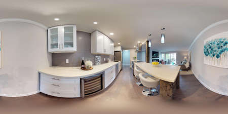 3d illustration spherical 360 degrees, a seamless panorama of white compact kitchen in modern studio apartment. Foto de archivo