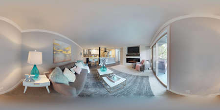 3d illustration spherical 360 degrees, a seamless panorama of living area in modern studio apartment.