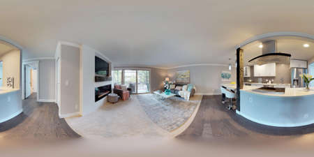 3d illustration spherical 360 degrees, a seamless panorama of living area and white compact kitchen room in modern studio apartment. 版權商用圖片