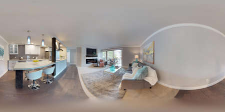 3d illustration spherical 360 degrees, a seamless panorama of living area and white compact kitchen room in modern studio apartment. Banque d'images