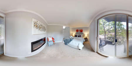 3d illustration spherical 360 degrees, a seamless panorama of luxury bedroom with fireplace in modern apartment. Banque d'images