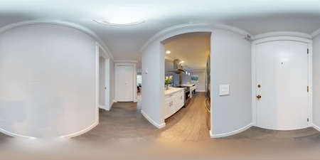 3d illustration spherical 360 degrees, a seamless panorama of hallway interior in modern apartment.