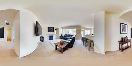 3d illustration spherical 360 degrees, a seamless panorama of home interior with tons of light, spacious family room and big leather sofa.