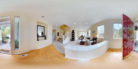 3d illustration spherical 360 degrees, a seamless panorama of Light and cozy hallway with hardwood floor.