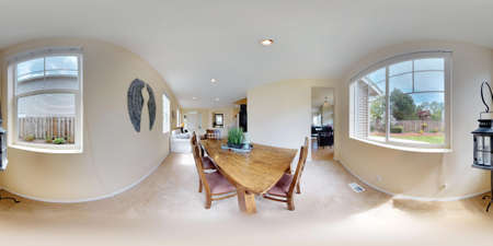 3d illustration spherical 360 degrees, a seamless panorama of Bright open dining area with wooden table and bench.