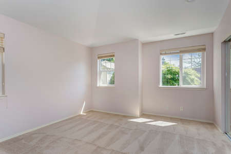 Empty sun filled bedroom with carpet floor in a remodeled house.