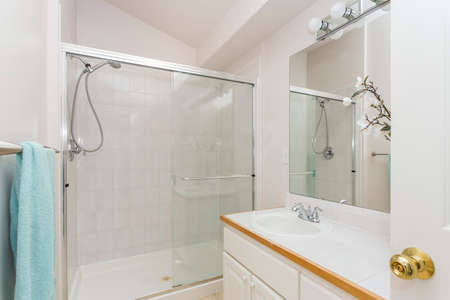 Renovated interior of a bathroom with vaulted ceiling over glass shower. Banque d'images