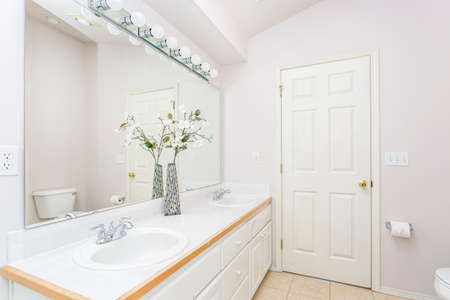 White bathroom interior with double sink vanity and vaulted ceiling.