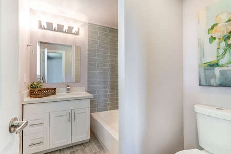 Well designed white bathroom with mosaic tiled wall. 免版税图像