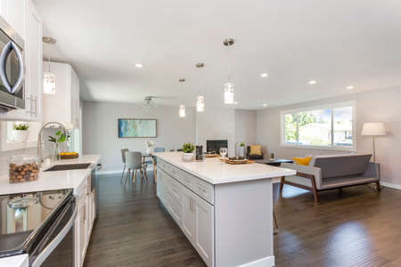 Gorgeous kitchen with open concept floorplan, white cabinets and huge island. 免版税图像