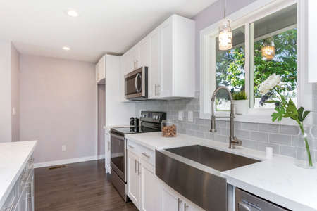 Gorgeous kitchen with white cabinets and farm sink.