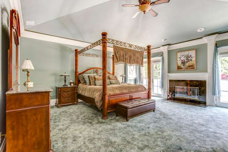 Luxury master bedroom with canopy bed and fireplace