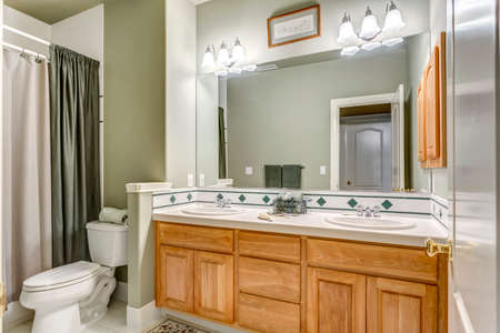 Green bathroom design with double vanity cabinet in a luxurious country house.
