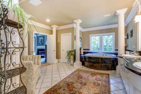 Elegant master bathroom interior with white columns.