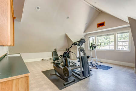 Well appointed home gym with vaulted ceiling in a large country house.