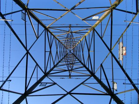 Electricity pylon from below Stock Photo - 444788