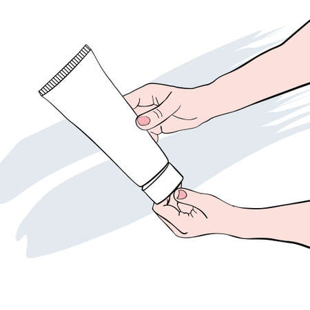 Hands open the lid of the tube for cream. Vector image.