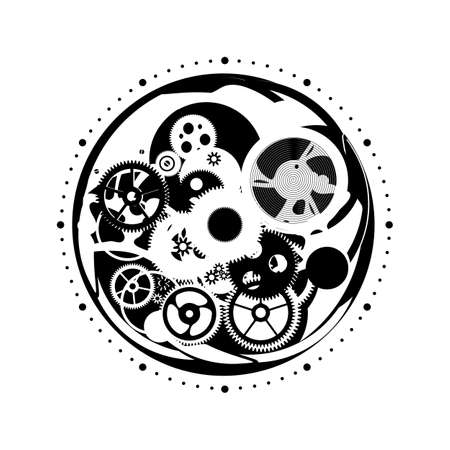 Silver elements of the clockwork. Vector image of gears from a watch.
