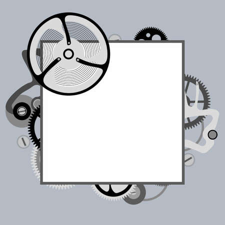 Frame from the elements of the watch mechanism. Vector image.