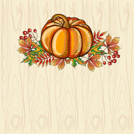 Ripe and beautiful pumpkin on bright autumn leaves. Thanksgiving Day.