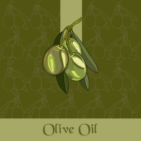 Composition of green olives. For labels for olive oil. Just add your text and logo.