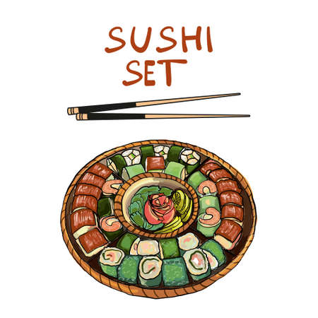 Set sushi on a large round plate. Vector illustration. Banque d'images - 137144465