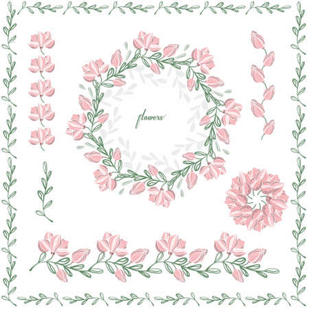 Set of floral ornaments colored on an isolated background. Illustration