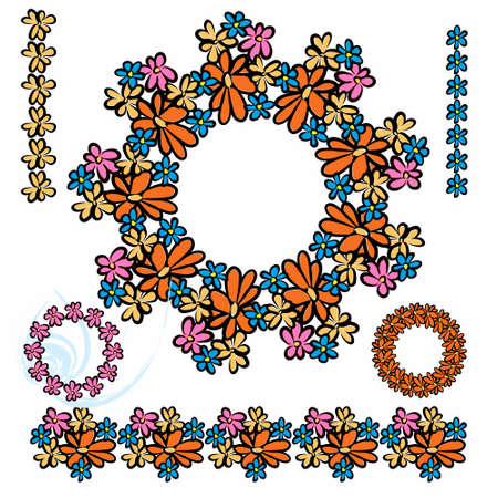 Set of frames, wreaths, floral, elements from flowers. Colored on an isolated background.