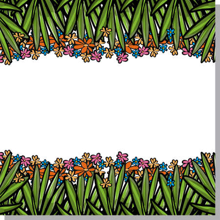 Summer pattern. Bright green leaves horizontally on a white background. You can place your text in the center. Ilustracja