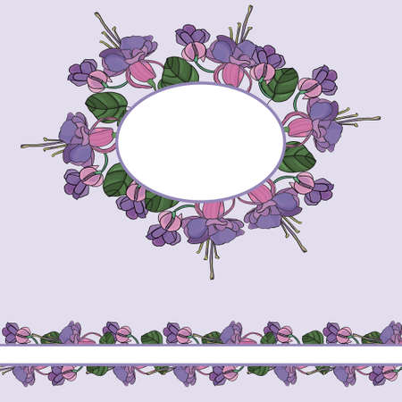 Round tight wreath of flowers with leaves. For festive decoration of cards, invitations. Vector floral ornament.  イラスト・ベクター素材