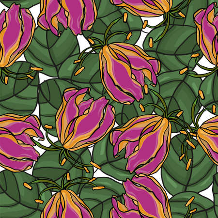 Flower pattern. Floral seamless background. Vector composition. Ilustracja