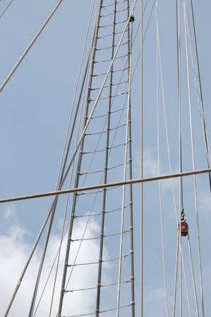 rope ladder: The rope ladder of Spanish military training tall ship
