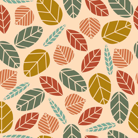 Seamless vector pattern with all various natural tribal leaves, with leaves with very colorful colors and with a beige background