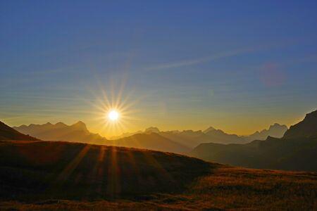 Morning sunrise, Pordoi pass Banco de Imagens
