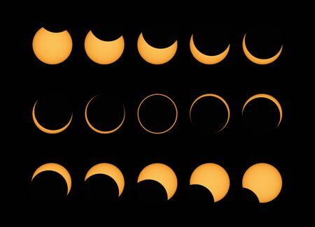 Annular solar eclipse phases composite panorama during Totality ,   popularly called the ring of fire , shot from Tamil Nadu , India . using solar filter , natural phenomenon