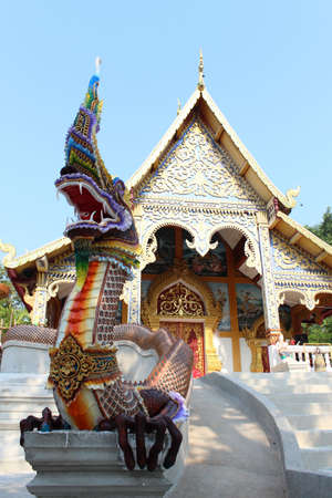 statue king of nagas in front of temple, Chiangmai  Thailand  Stock Photo - 15063217