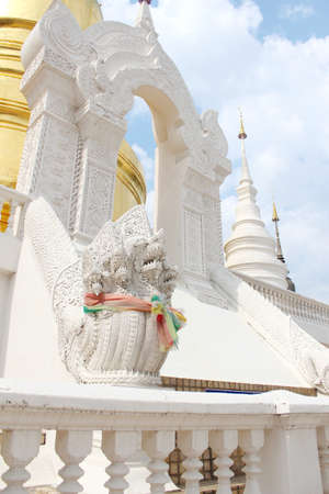 Sculpture of naka in temple Lanna art of Thailand  photo