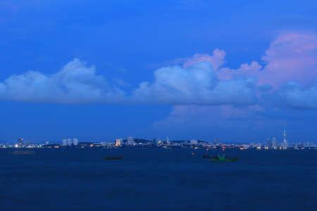 Night view of Pattaya city, Thailand  photo