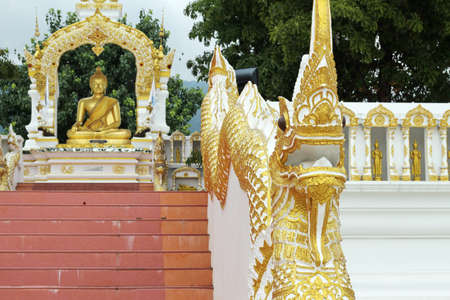 Naga statue, architecture of stairhead in the northern part of Thailand   photo