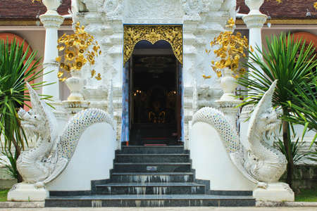 stair well: Thai art, Naka statue on staircase balustrade Chiangmai  Thailand