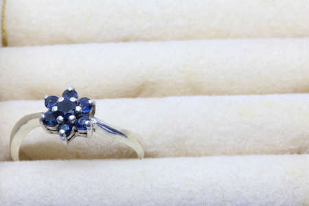 Ruby ring in blue jewel box.